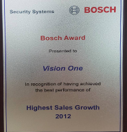 Vision One BOSCH Highest Sales Growth Award